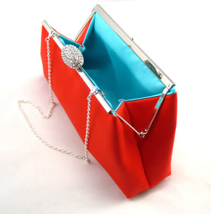 Clutches - Bright Red and Aqua Blue Wedding Clutch - Ella Winston