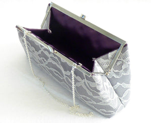 Clutches - Set of Five Steel Grey, Platinum Grey Lace and Eggplant Purple Bridesmaid Gift Clutches 5% Off - Ella Winston