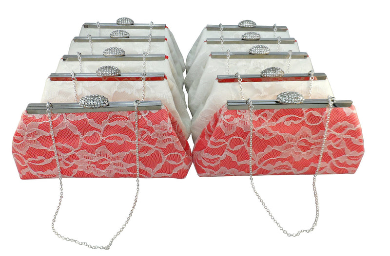 Clutches - Set of Ten Calypso Coral and Ivory Bridesmaid Gift Clutches 10% Off - Ella Winston