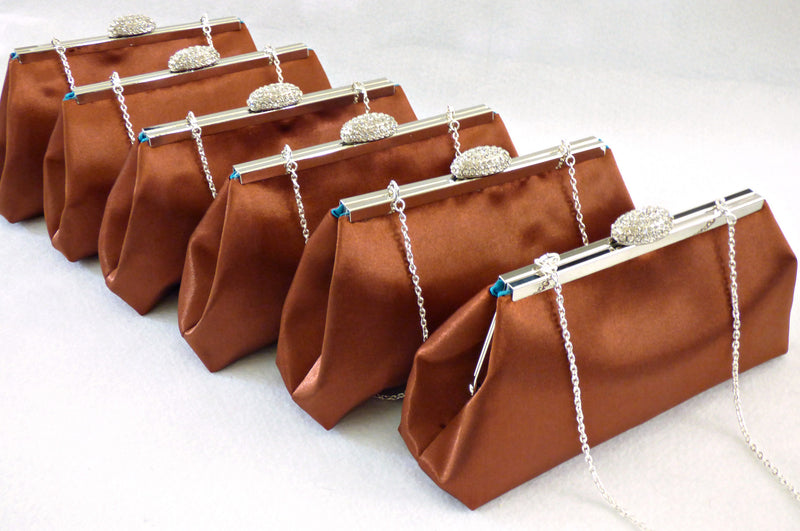 Clutches - Set of Six Copper and Teal Bridesmaid Gift Clutches 5% Off - Ella Winston