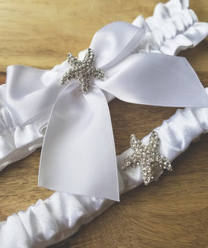 Modern Heirloom Bridal Garter Set With White Satin