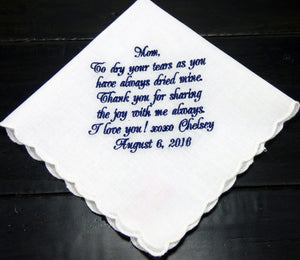 Handkerchiefs - Mother of the Bride Scallop Handkerchief - Ella Winston