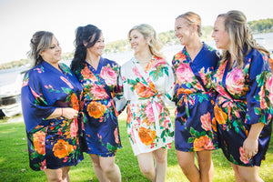Satin Watercolor Floral Bridesmaid Robes In Six Colors