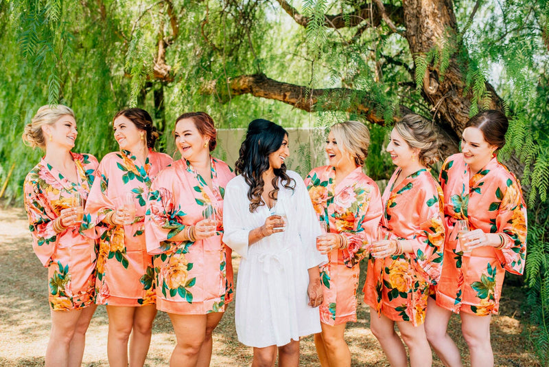 Coral Satin Watercolor Floral Bridesmaid Robes