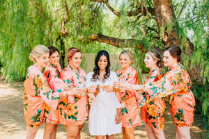 Coral Satin Floral Bridesmaid Robes and stemless Champagne Flutes