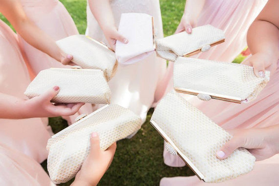 Clutches - Set of Seven Gold Flake and Petal Pink Bridesmaid Gift Clutches 5% Off - Ella Winston