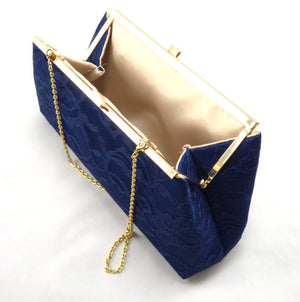 Clutches - Set of Five Navy Blue and Champagne Bridesmaid Gift Clutches 5% Off - Ella Winston