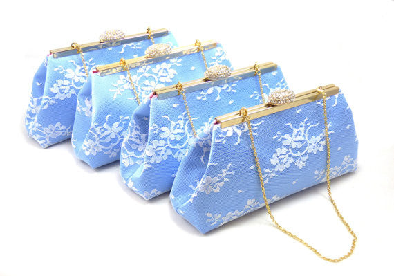 Clutches - Set of Four Serenity Blue, White Lace and Rose Quartz Bridesmaid Clutches 5% Off - Ella Winston