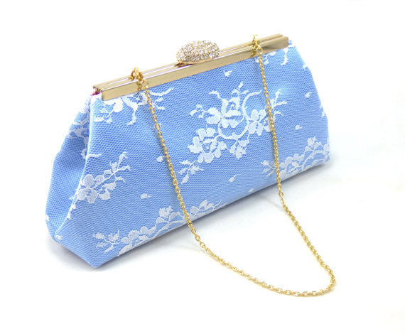 Clutches - Serenity Blue, White Lace and Rose Quartz Bridal Clutch - Ella Winston