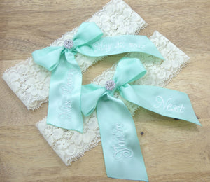 Embroidered Mint green bridal garter on ivory lace