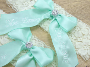 You're Next mint green wedding garter set on ivory lace