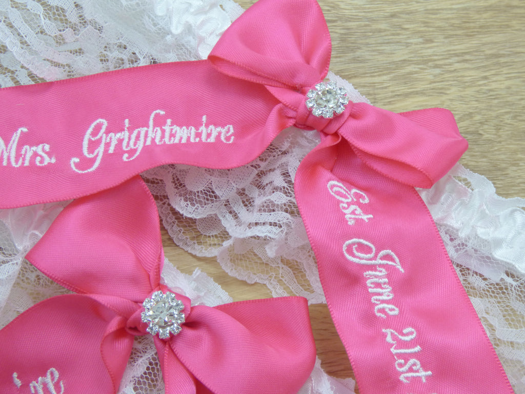 Garters - Hot Pink You're Next Personalized Bridal Garter - Ella Winston