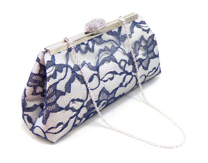 Clutches - Ivory, Navy Blue and Silver Bridal Clutch - Ella Winston