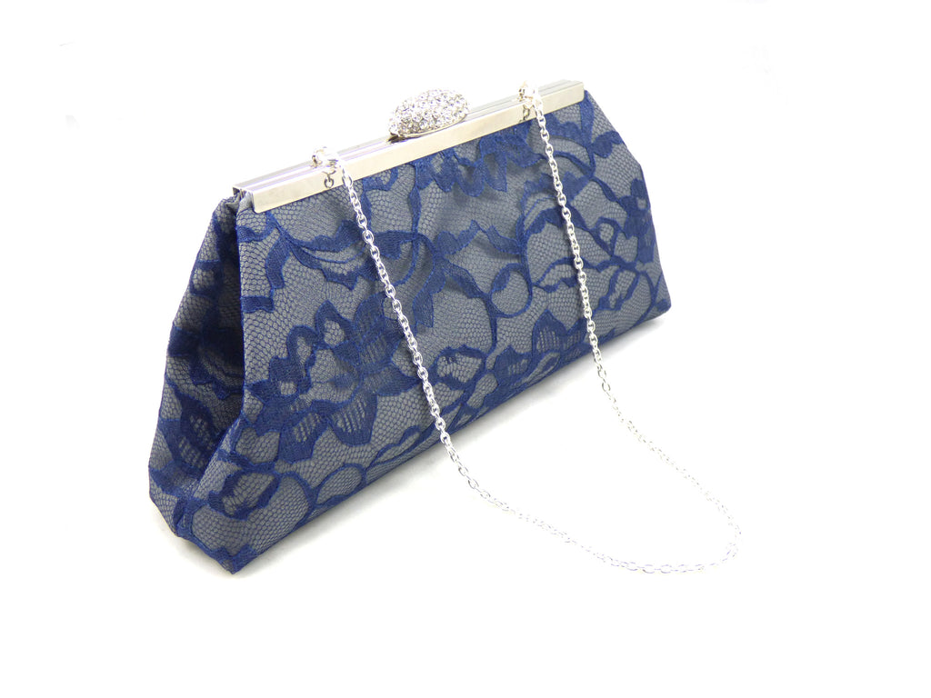 Clutches - Steel Grey and Navy Blue Wedding Clutch - Ella Winston