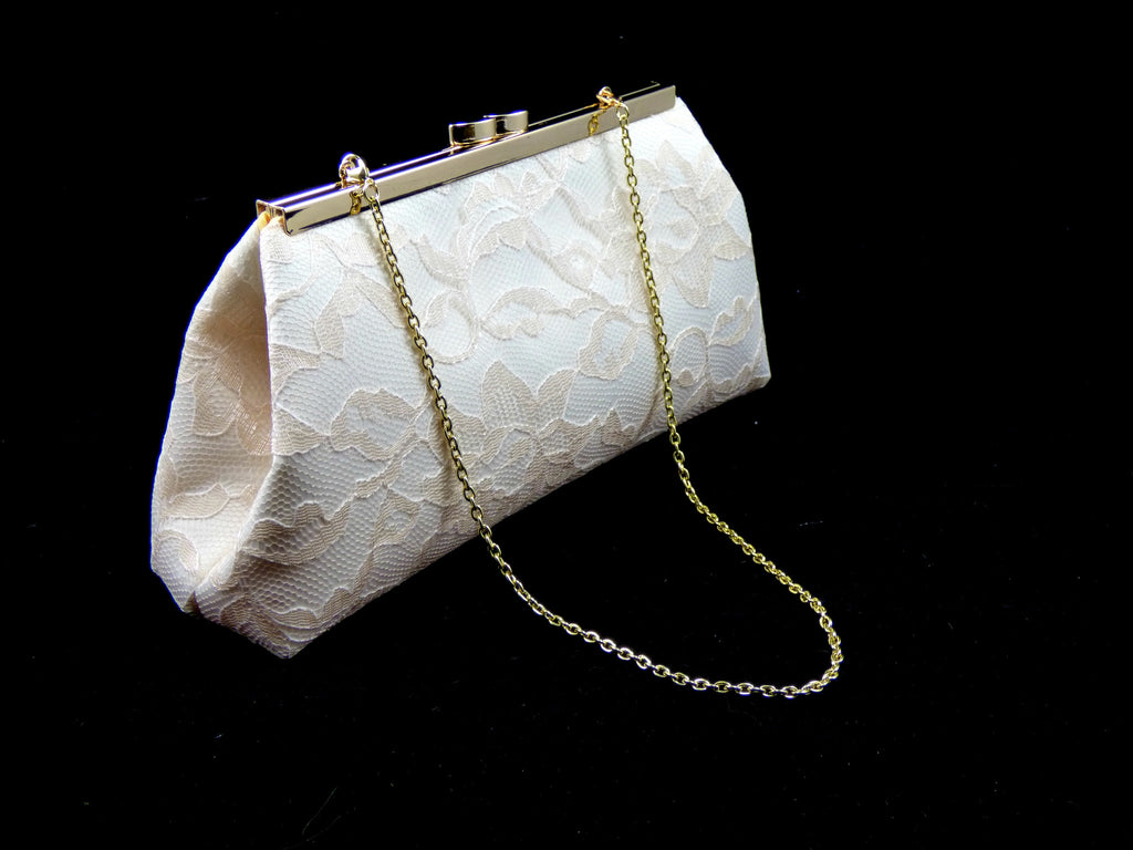 Clutches - Ivory, Champagne Lace and Yellow Bridal Clutch - Ella Winston