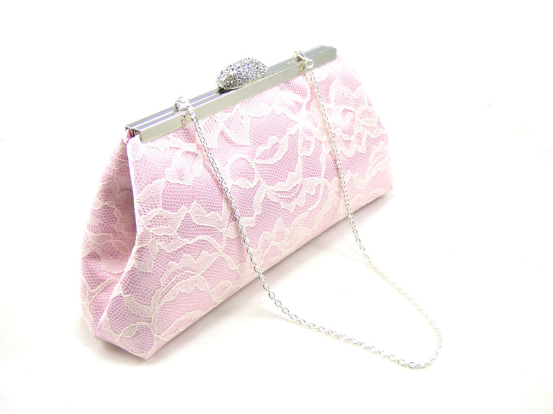 Clutches - Light Pink and Ivory Bridal Clutch - Ella Winston