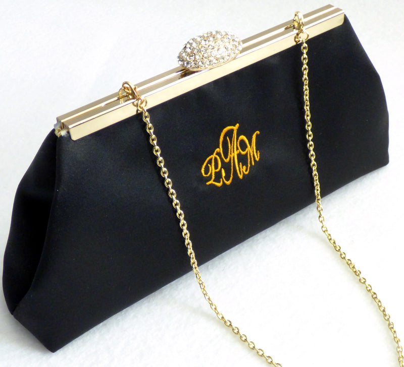 Monogram Bags - Black and Gold Paisley Monogram Clutch - Ella Winston