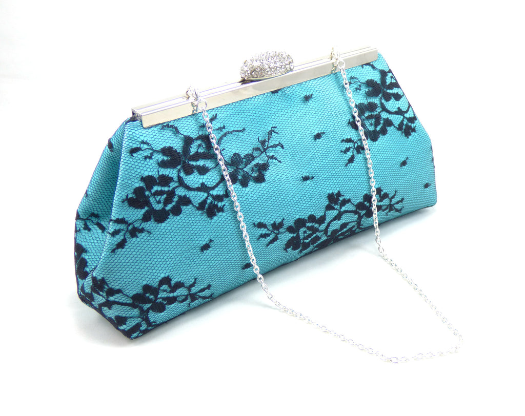 Clutches - Aqua Blue and Black Wedding Clutch - Ella Winston