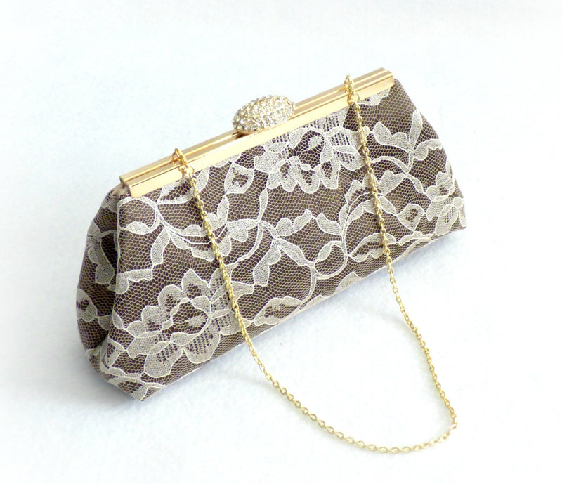 Clutches - Chocolate and Champagne Wedding Clutch - Ella Winston