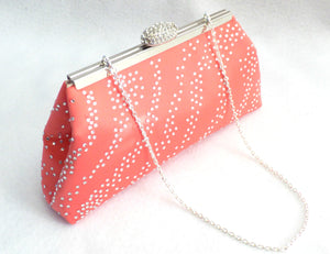 Bling Clutches - Calypso Coral and Champagne Rhinestone Clutch - Ella Winston