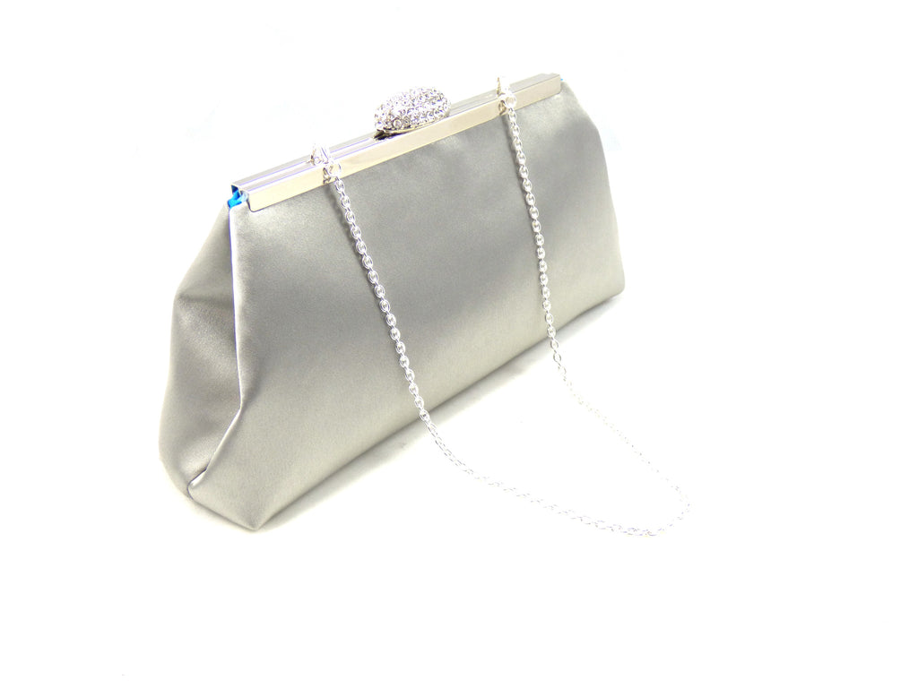 Clutches - Silver and Blue Jewel Evening Clutch - Ella Winston