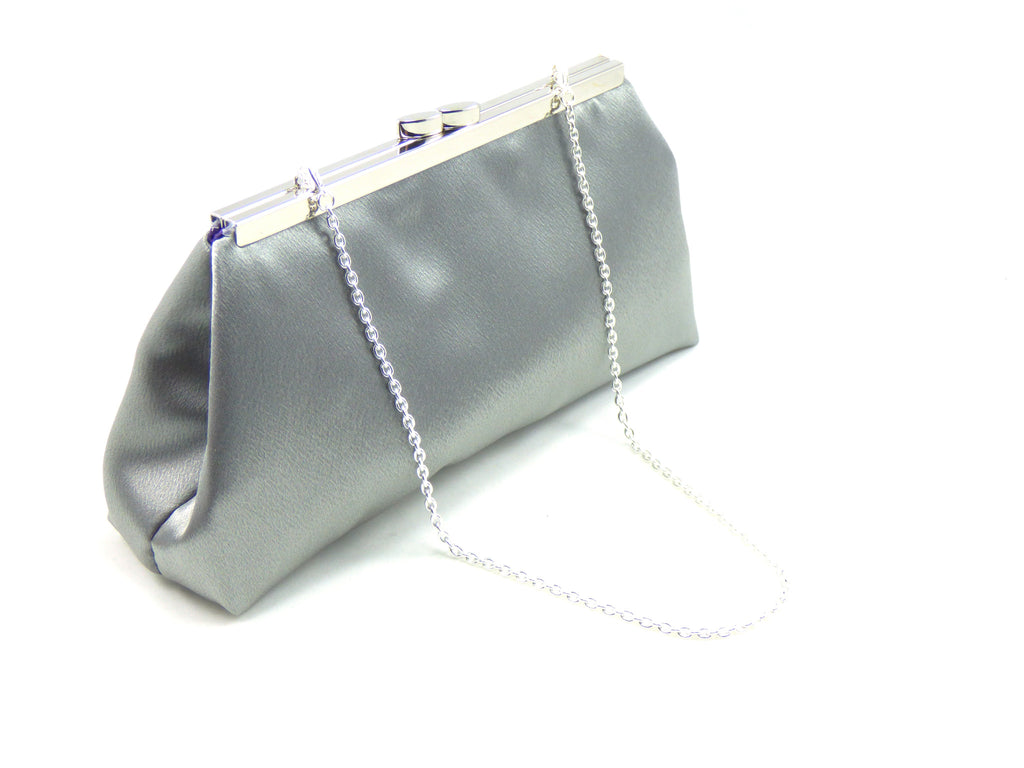 Clutches - Steel Grey and Blackberry Purple Evening Clutch - Ella Winston