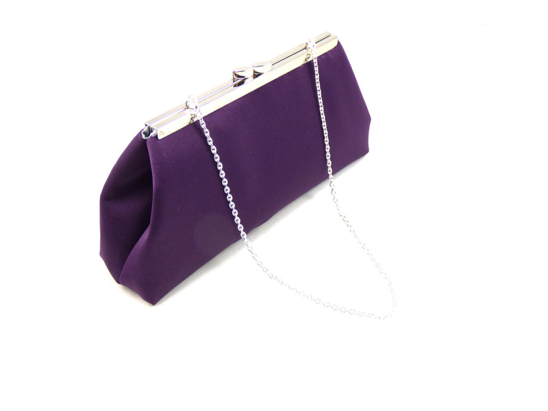 Clutches - Eggplant Purple and Platinum Grey Evening Clutch - Ella Winston