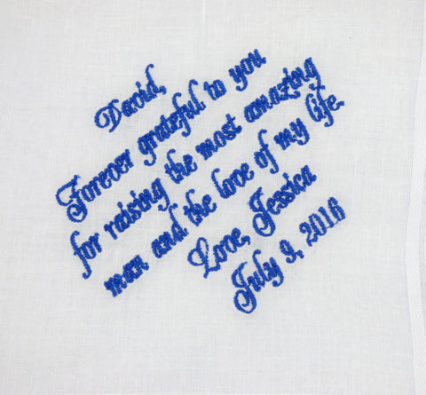 Set of Four Personalized Handkerchiefs for the Mother of the Bride, Mother of the Groom, Father of the Bride and Groom