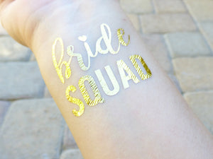 Bride squad temporary tattoo on wrist