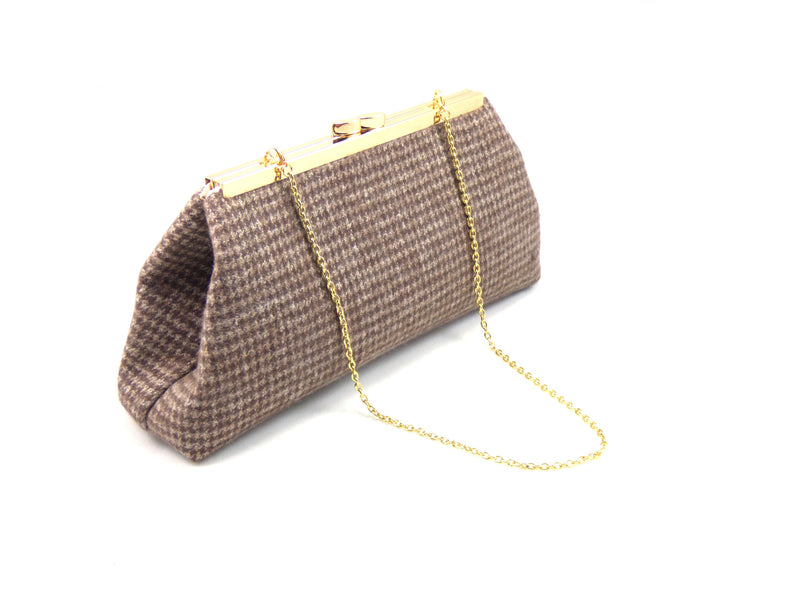Clutches - Brown Hounds Tooth and Champagne Evening Clutch - Ella Winston