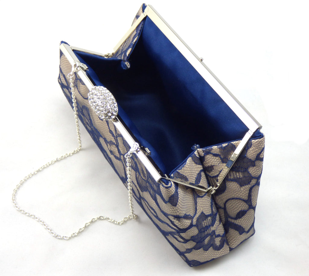 Clutches - Champagne and Navy Blue Evening Clutch - Ella Winston