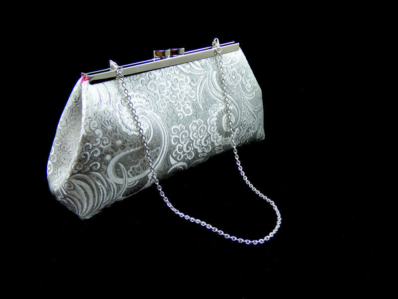 Clutches - Silver Paisley and Hot Pink Bridal Clutch - Ella Winston
