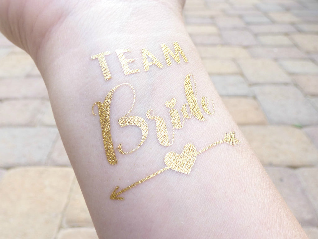 Team bride temporary tattoos with heart and arrow