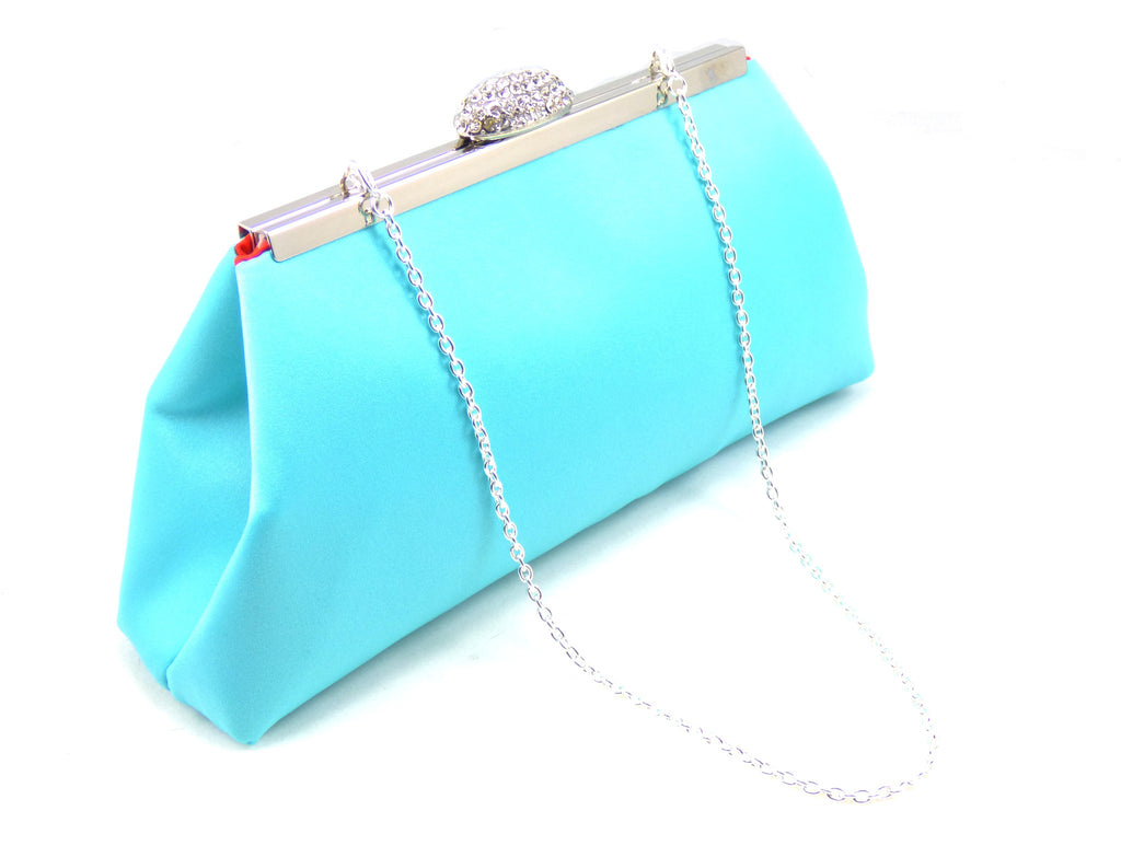 Clutches - Aqua Blue and Bright Red Bridal Clutch - Ella Winston