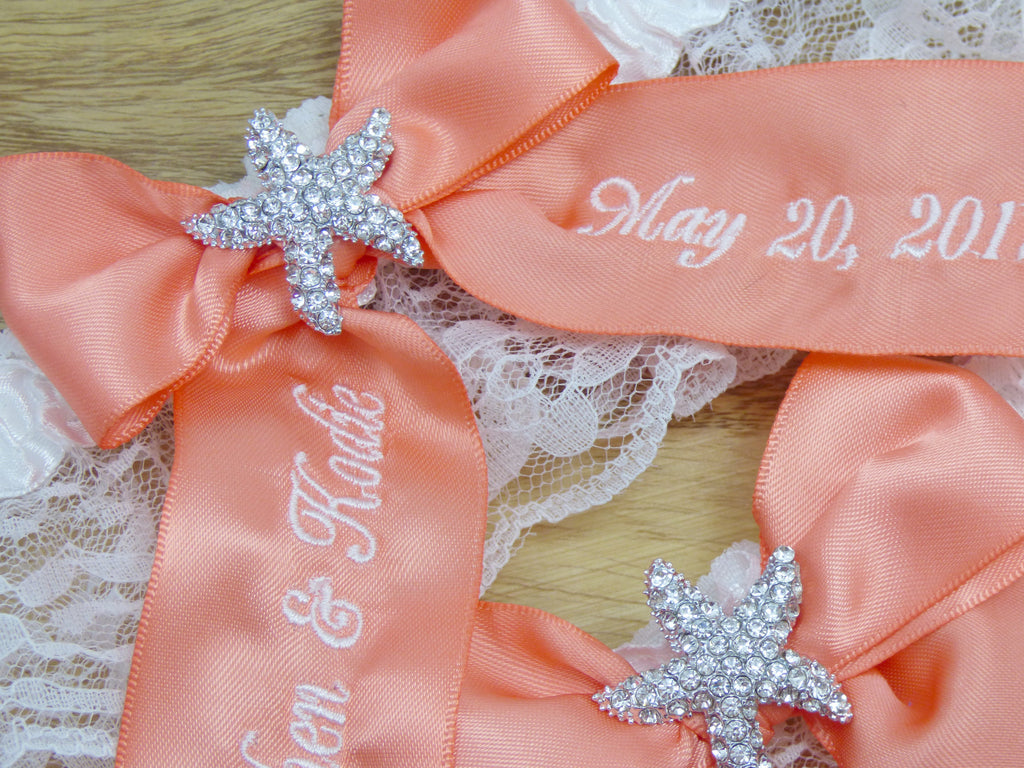 Garters - Coral You're Next Starfish Custom Bridal Garter - Ella Winston