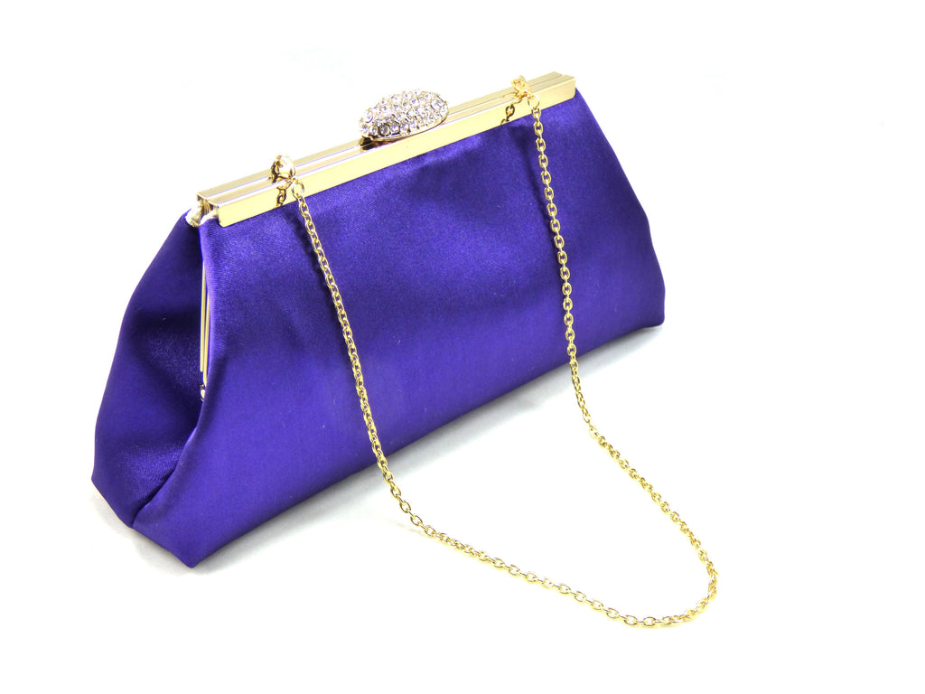 Clutches - Regal Purple and Gold Flake Evening Clutch - Ella Winston