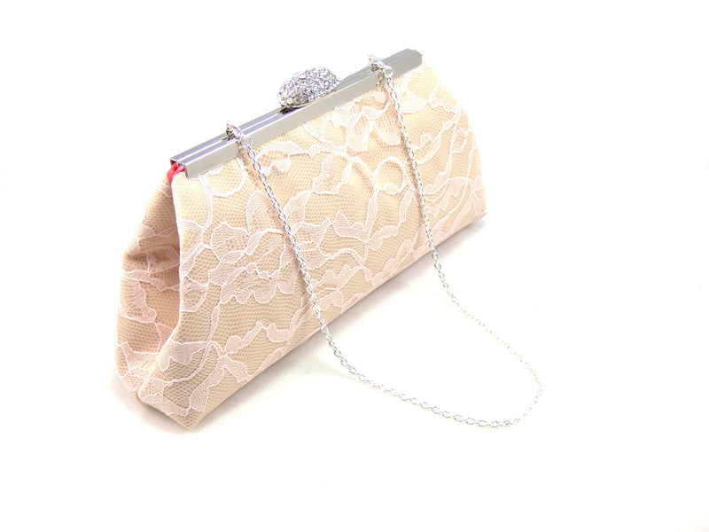 Clutches - Champagne, Blush Pink Lace and Calypso Coral Wedding Clutch - Ella Winston