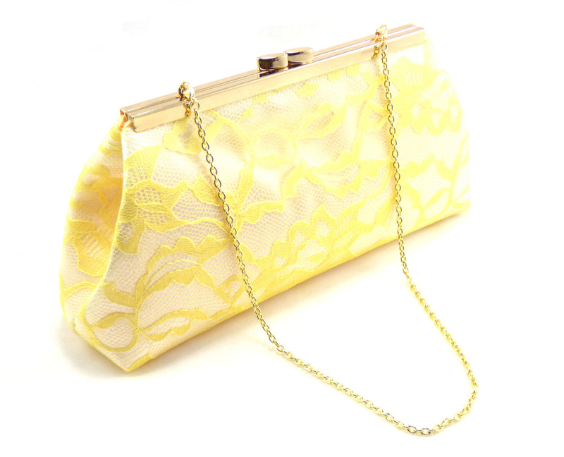 Clutches - White and Yellow Bridal Clutch - Ella Winston