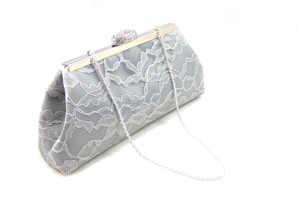 Clutches - Platinum Grey and Ivory Paisley Wedding Clutch - Ella Winston