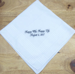 Men's Handkerchief, Happy Wife, Happy Life