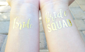 Bride and Bride Squad temporary tattoos on wrist for bachelorette party