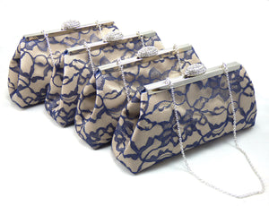Clutches - Set of Four Champagne and Navy Blue Bridesmaid Clutches 5% Off - Ella Winston
