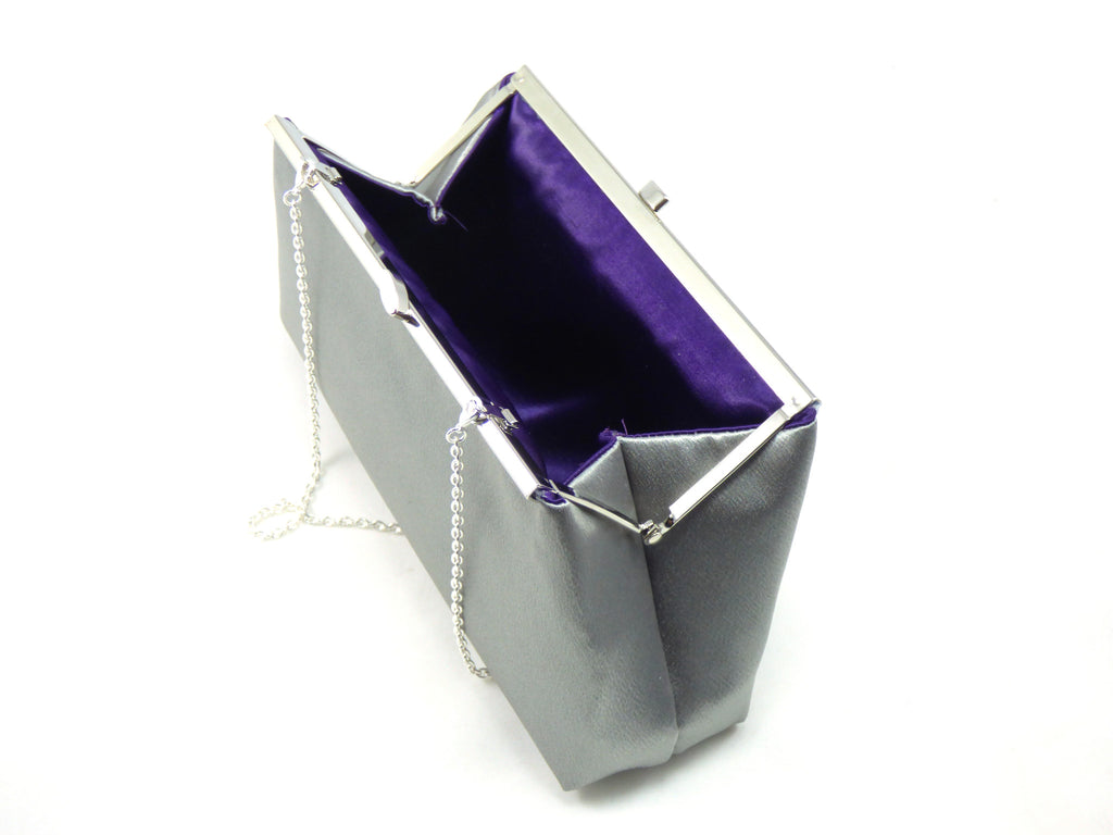 Clutches - Set of Two Steel Grey and Blackberry Purple Bridesmaid Gift Clutches - Ella Winston