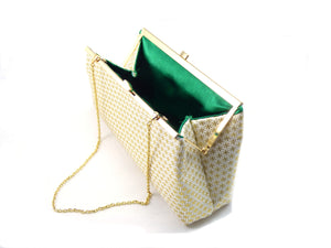 Clutches - Gold Flake and Emerald Green Evening Clutch - Ella Winston