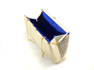 Clutches - Gold Flake and Royal Blue Evening Clutch - Ella Winston