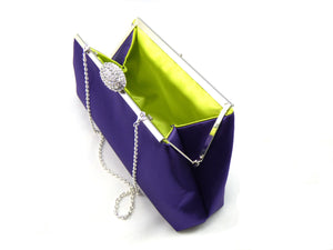 Clutches - Blackberry Purple and Lime Green Bridal Clutch - Ella Winston