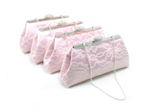 Clutches - Set of Four Light Pink and Ivory Lace Bridesmaid Gift Clutches 5% Off - Ella Winston