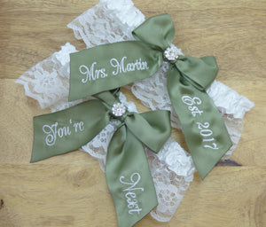 Garters - Embroidered Moss Green You're Next Bridal Garter - Ella Winston