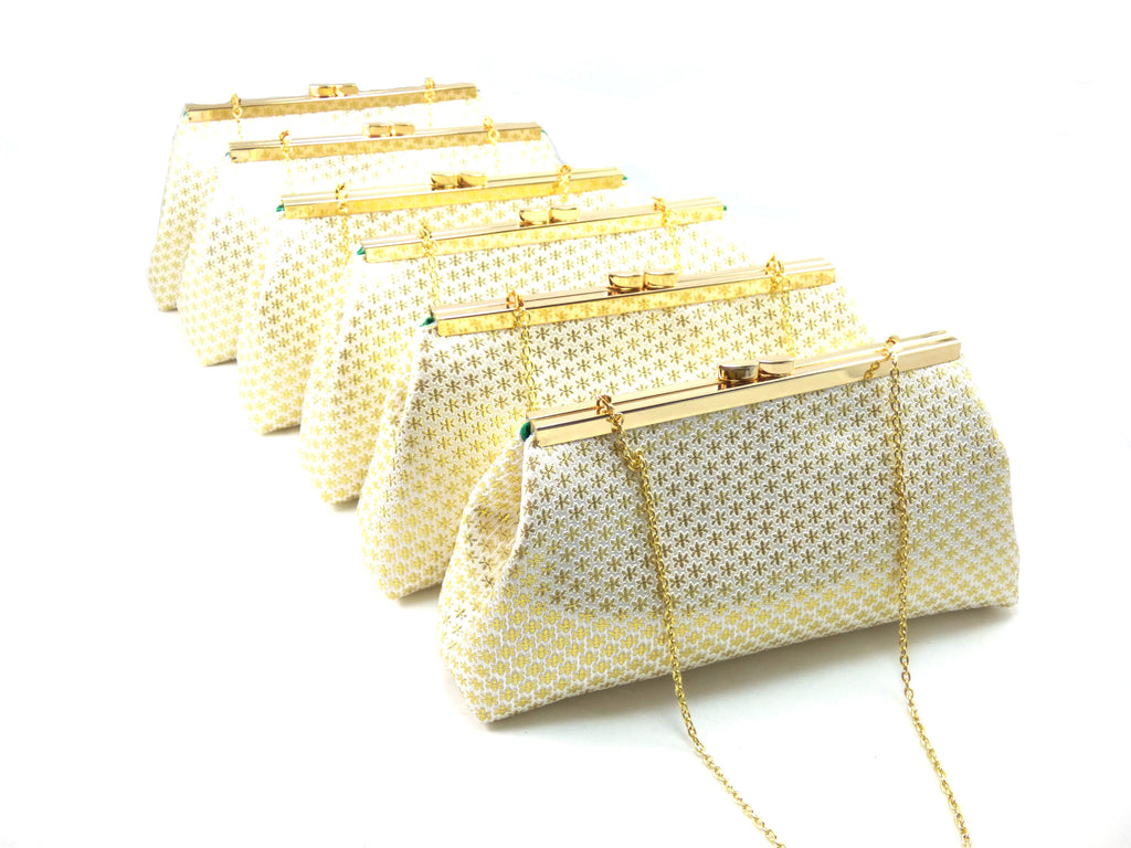 Clutches - Set of Six Gold Flake and Emerald Green Bridesmaid Gift Clutches 5% Off - Ella Winston