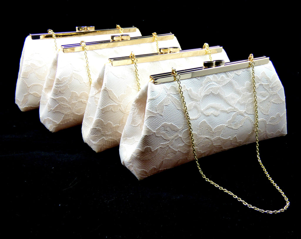 Clutches - Set of Four Ivory, Champagne Lace and Yellow Bridesmaid Gift Clutches 5% Off - Ella Winston